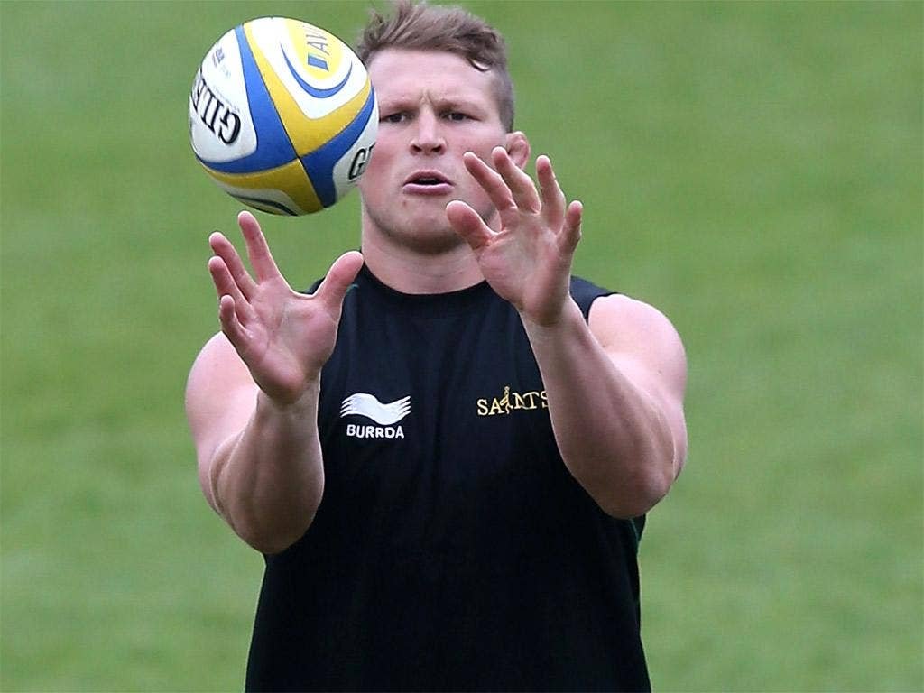Northampton's Dylan Hartley trains at Franklin's Gardens