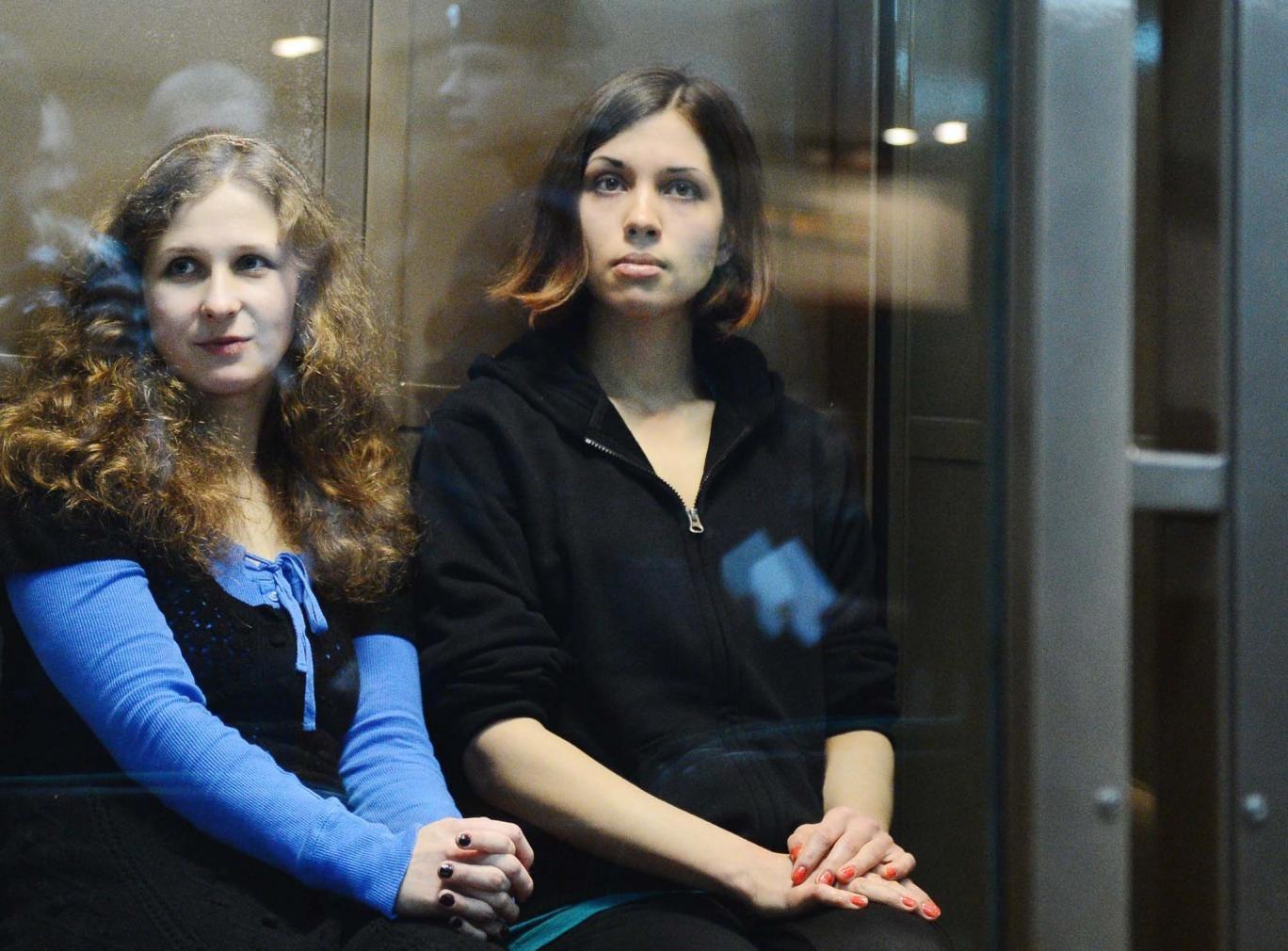 Jailed Pussy Riot members Maria Alyokhina and Nadezhda Tolokonnikova in court in Moscow.