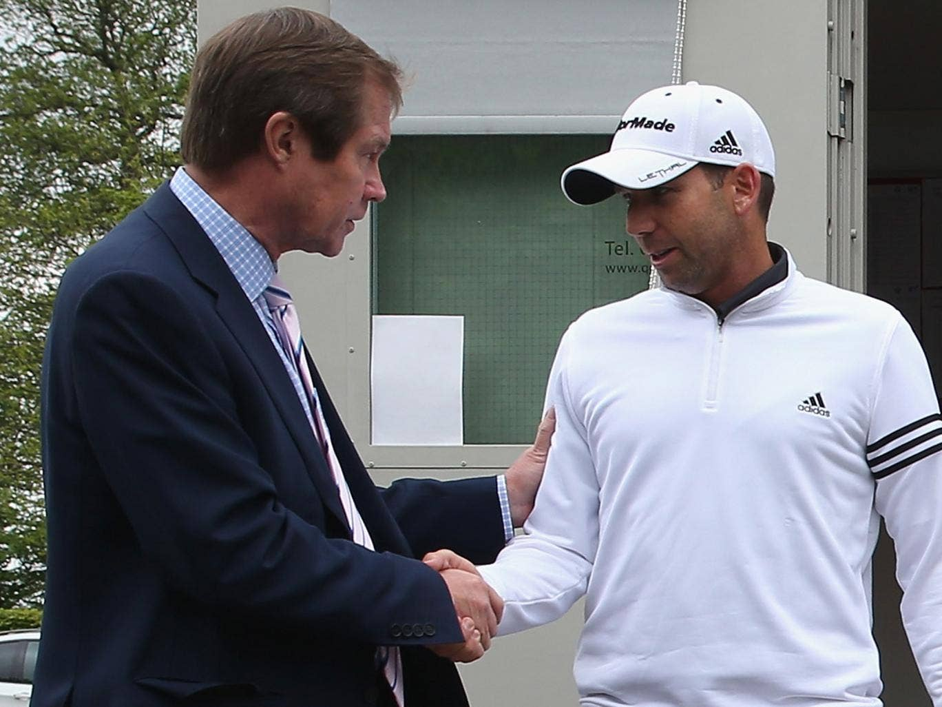 George O'Grady with Sergio Garcia outside the Rules Office