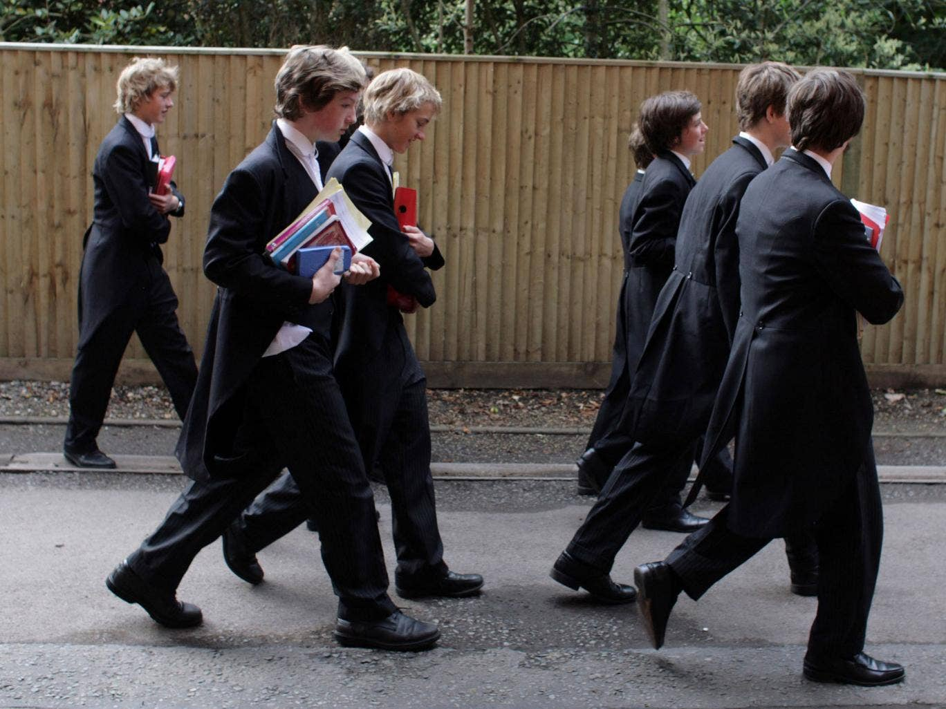 Future leaders? Boys make their way to classes at Eton College