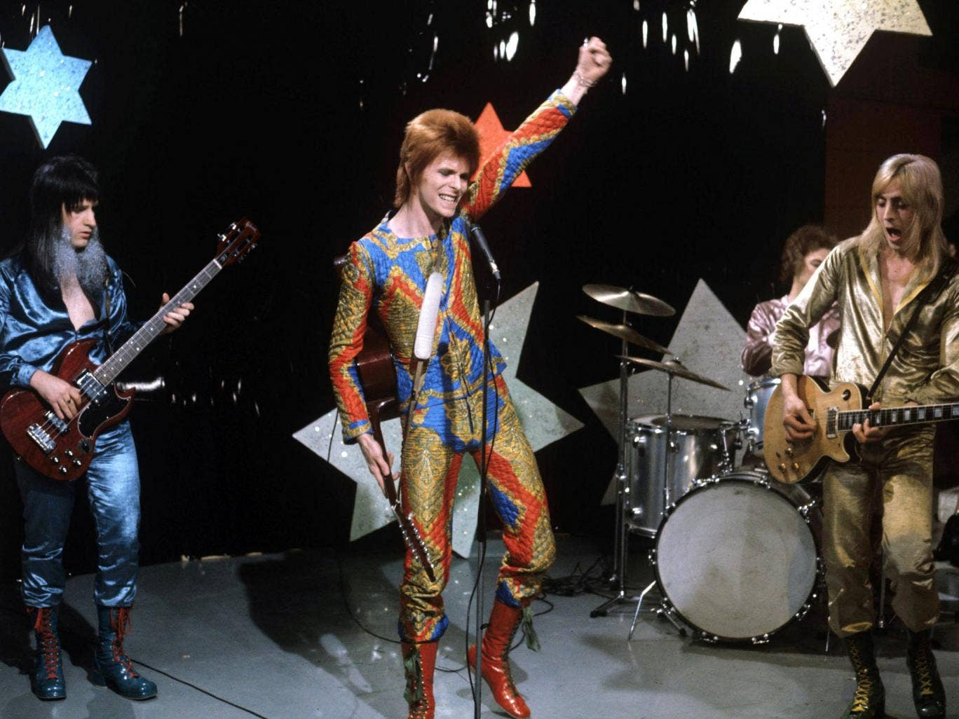 Ziggy and the Spiders: Bolder, left, with David Bowie, Woody Woodmansey and Mick Ronson in 1972