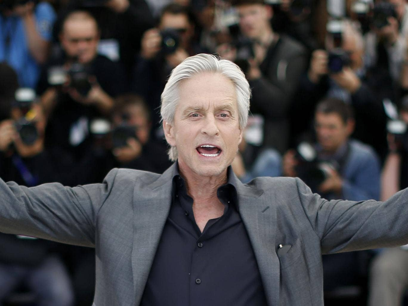 Happy camper: Michael Douglas's biopic of Liberace had problems getting off the ground, but it was a hit at this year's Cannes Film Festival