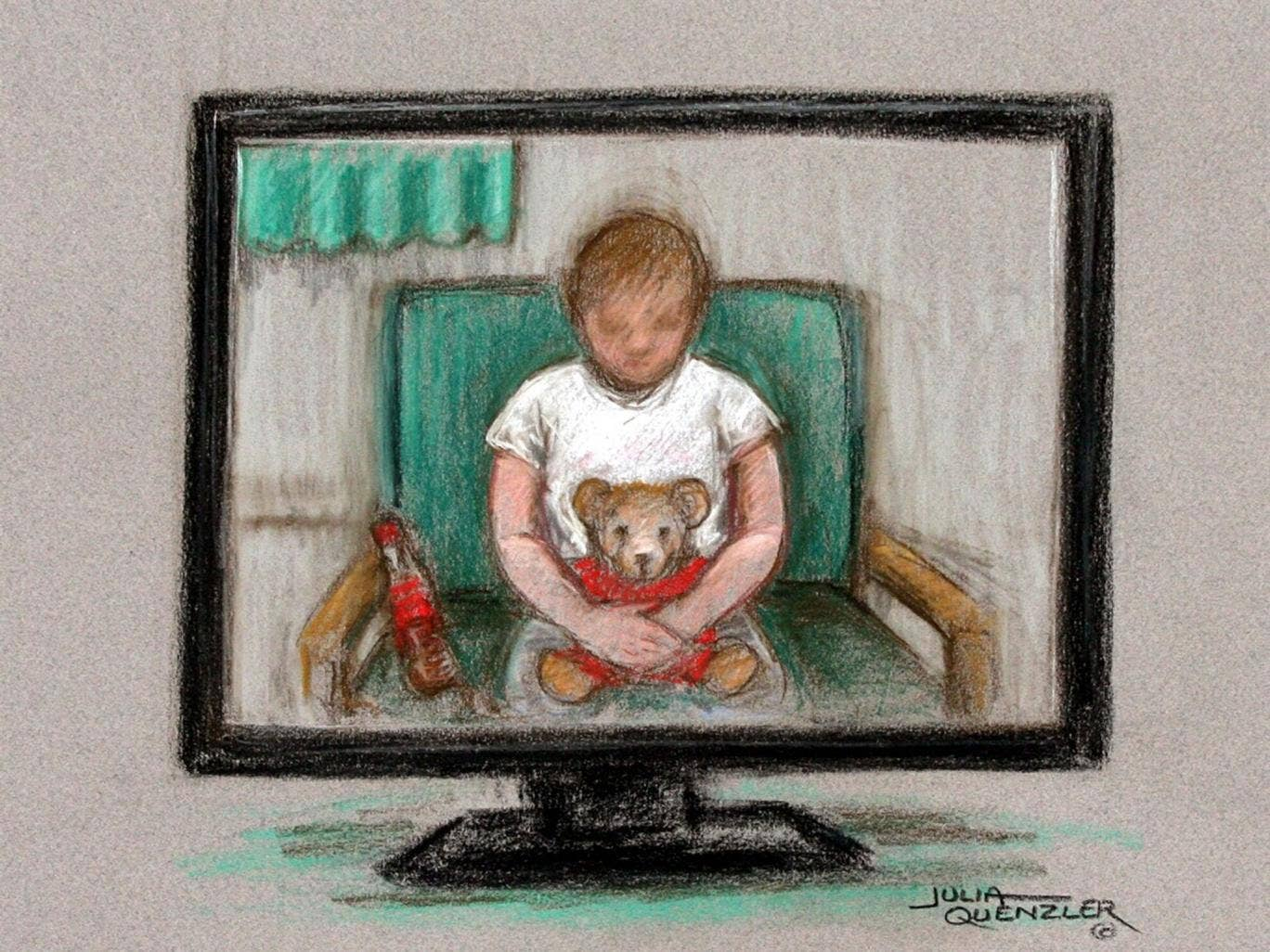 A court artist's portrayal of the ordeal of a child sex abuse victim