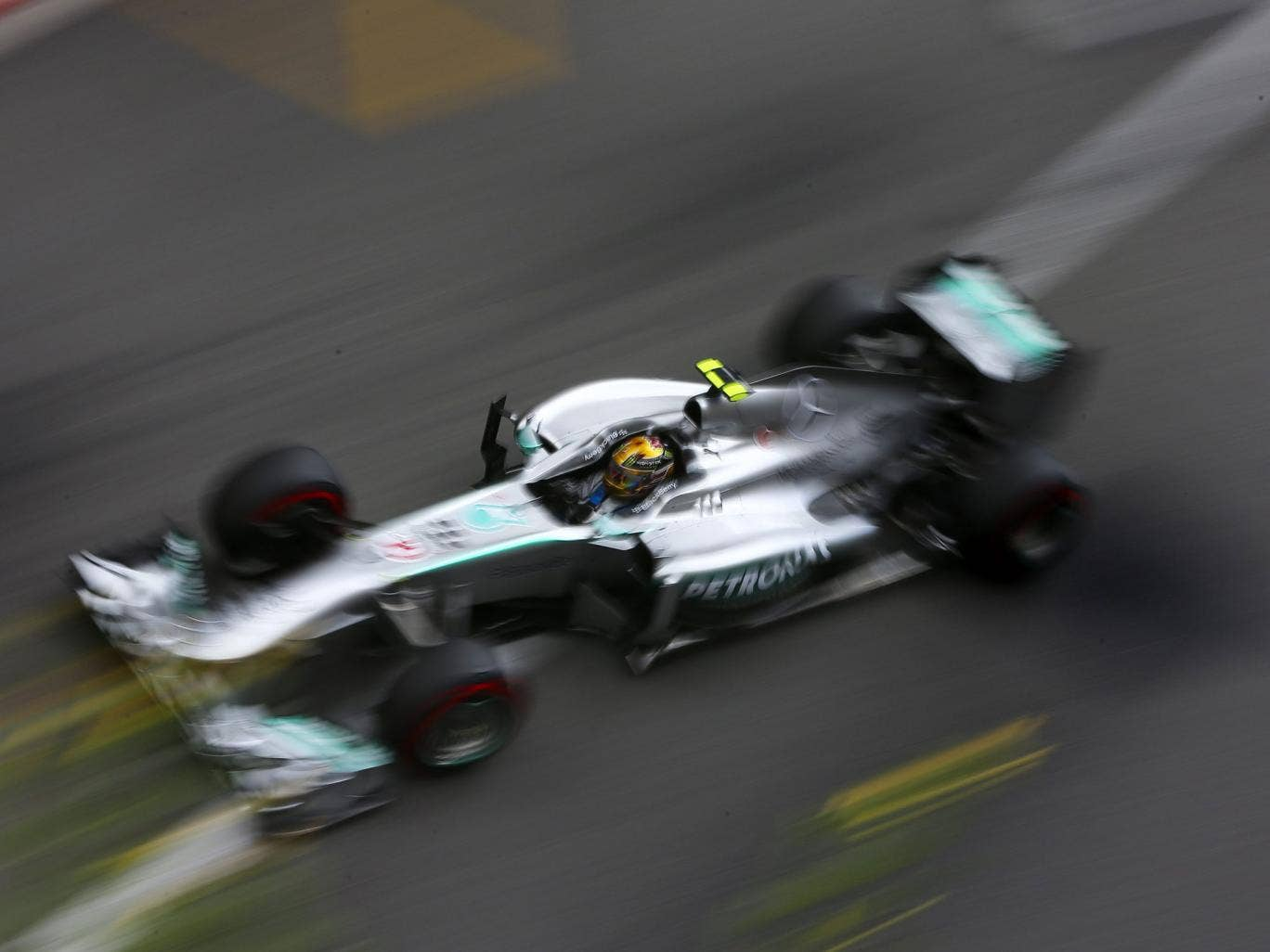 Lewis Hamilton in practice for the Monaco GP