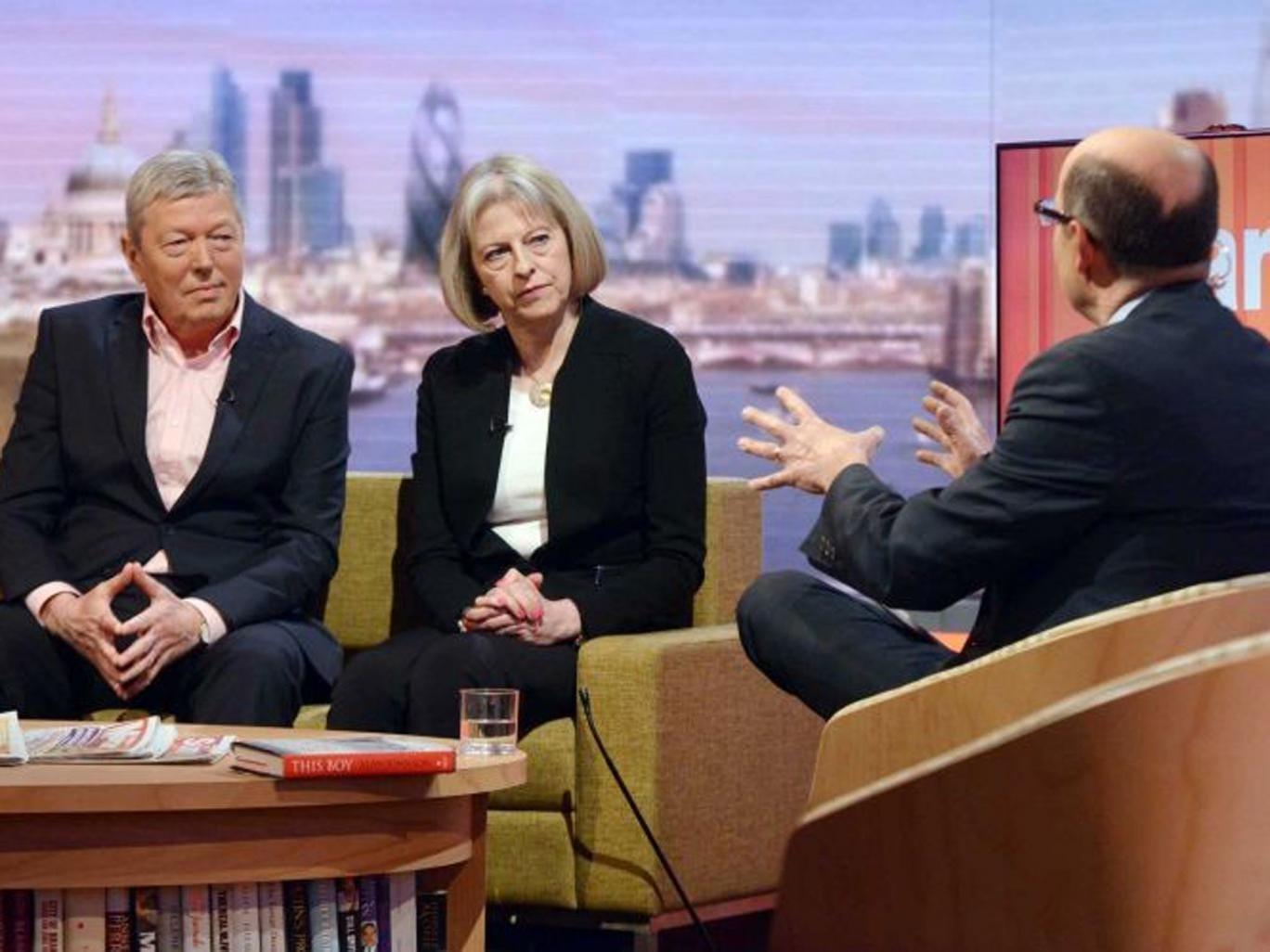 Home Secretary Theresa May and Alan Johnson with host Nick Robinson