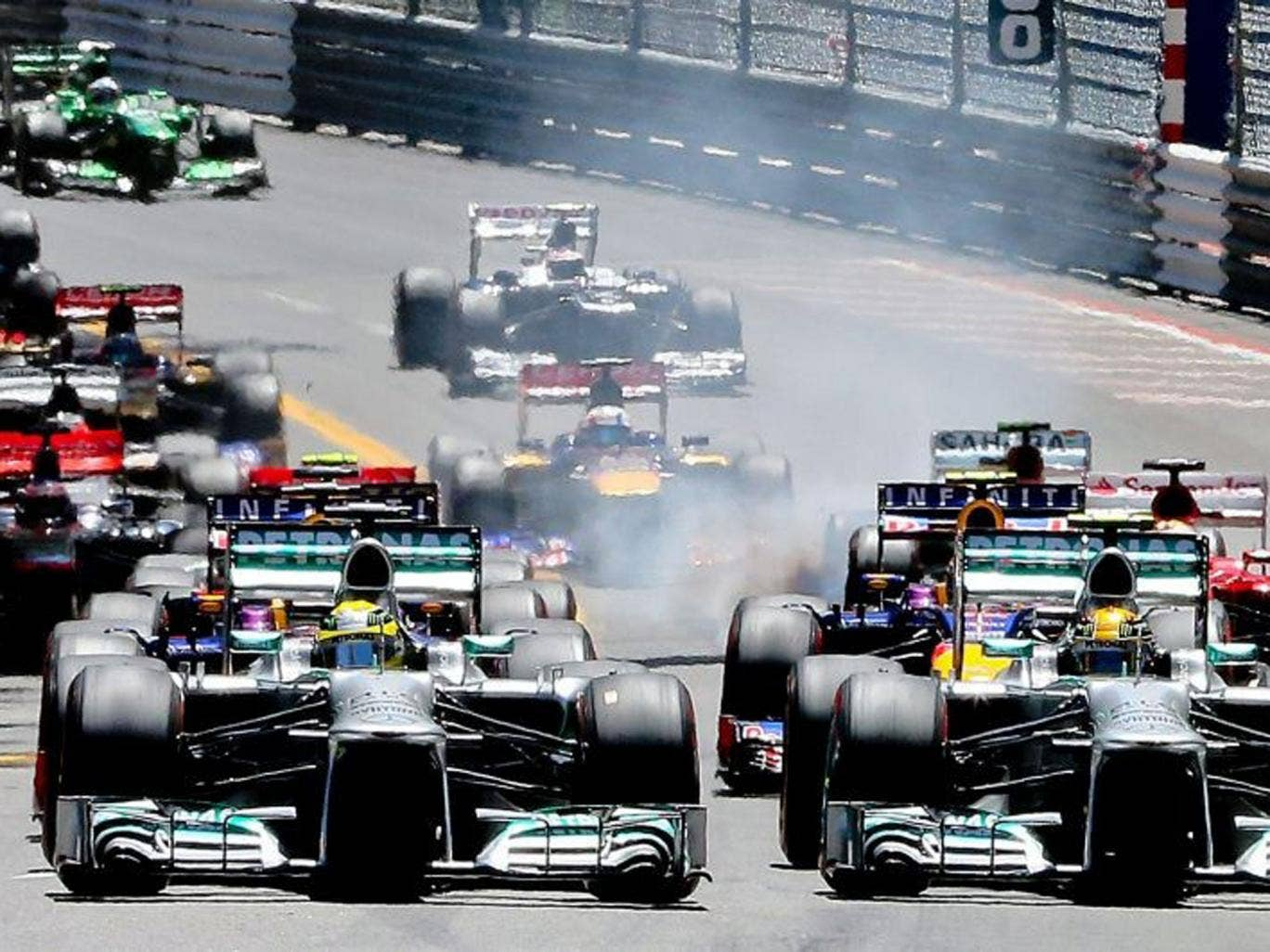 The pack of cars in action during the 2013 Monaco Grand Prix