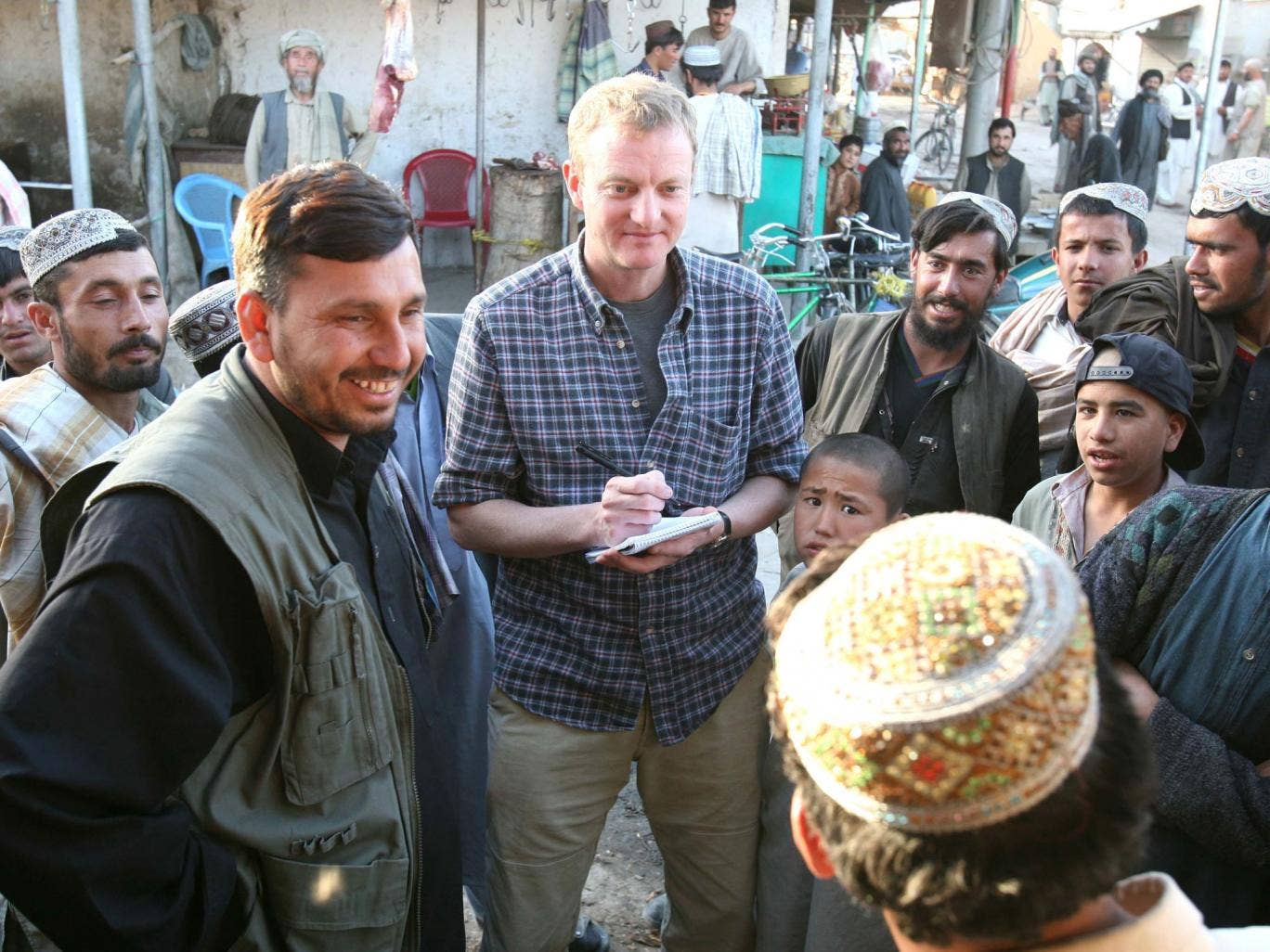 Beeston, centre, in Afghanistan in 2006; he always needed to know for himself what was going on