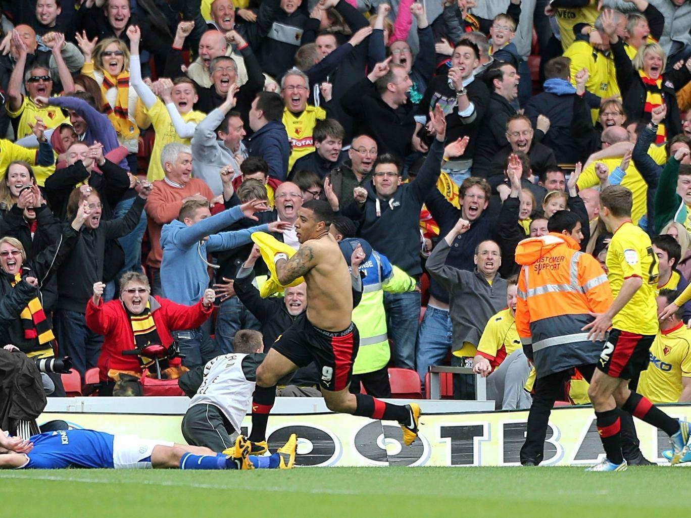 Troy Deeney celebrates his semi-final winner against Leicester