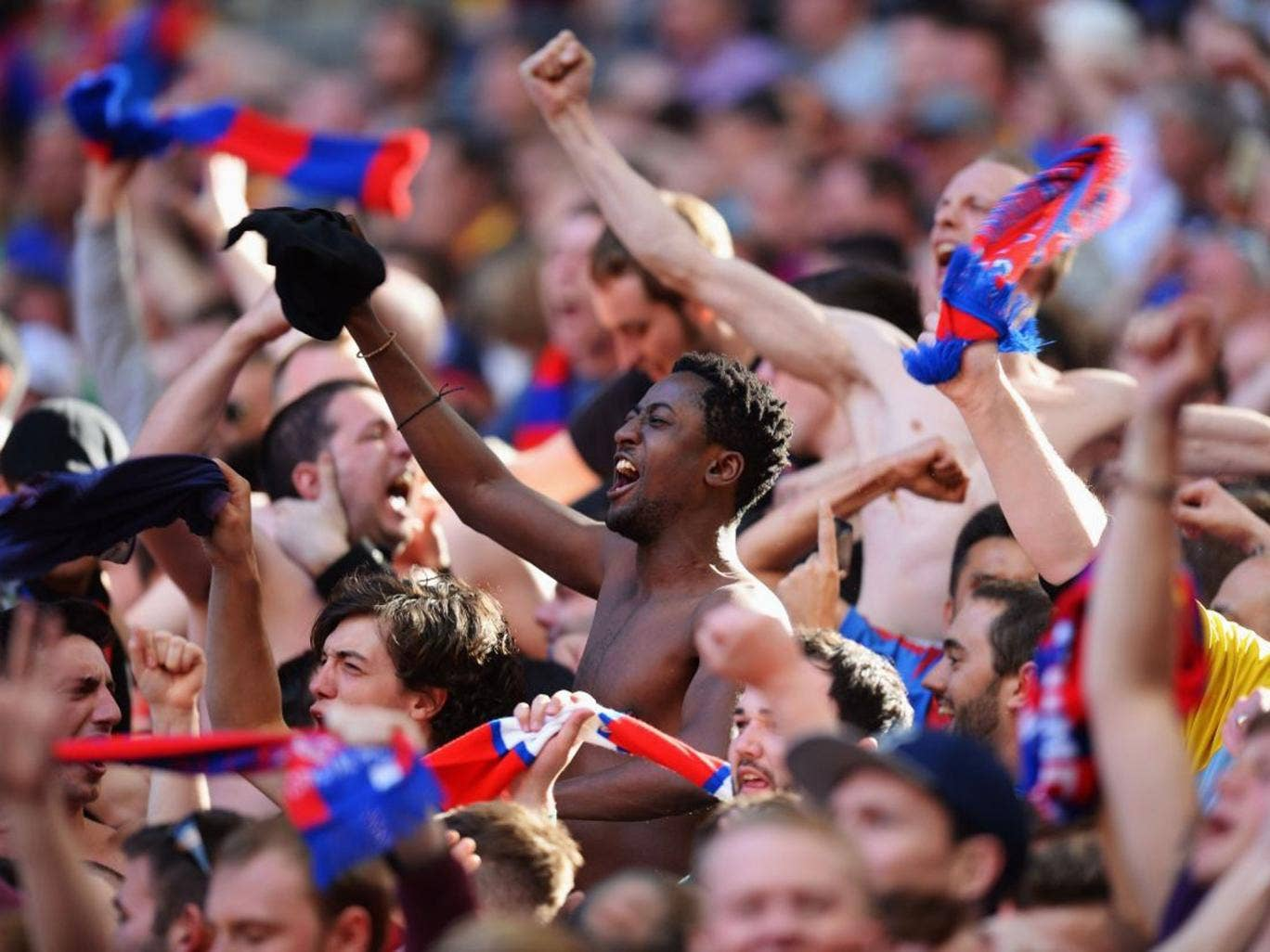 Crystal Palace support their side at the Championship play-off final