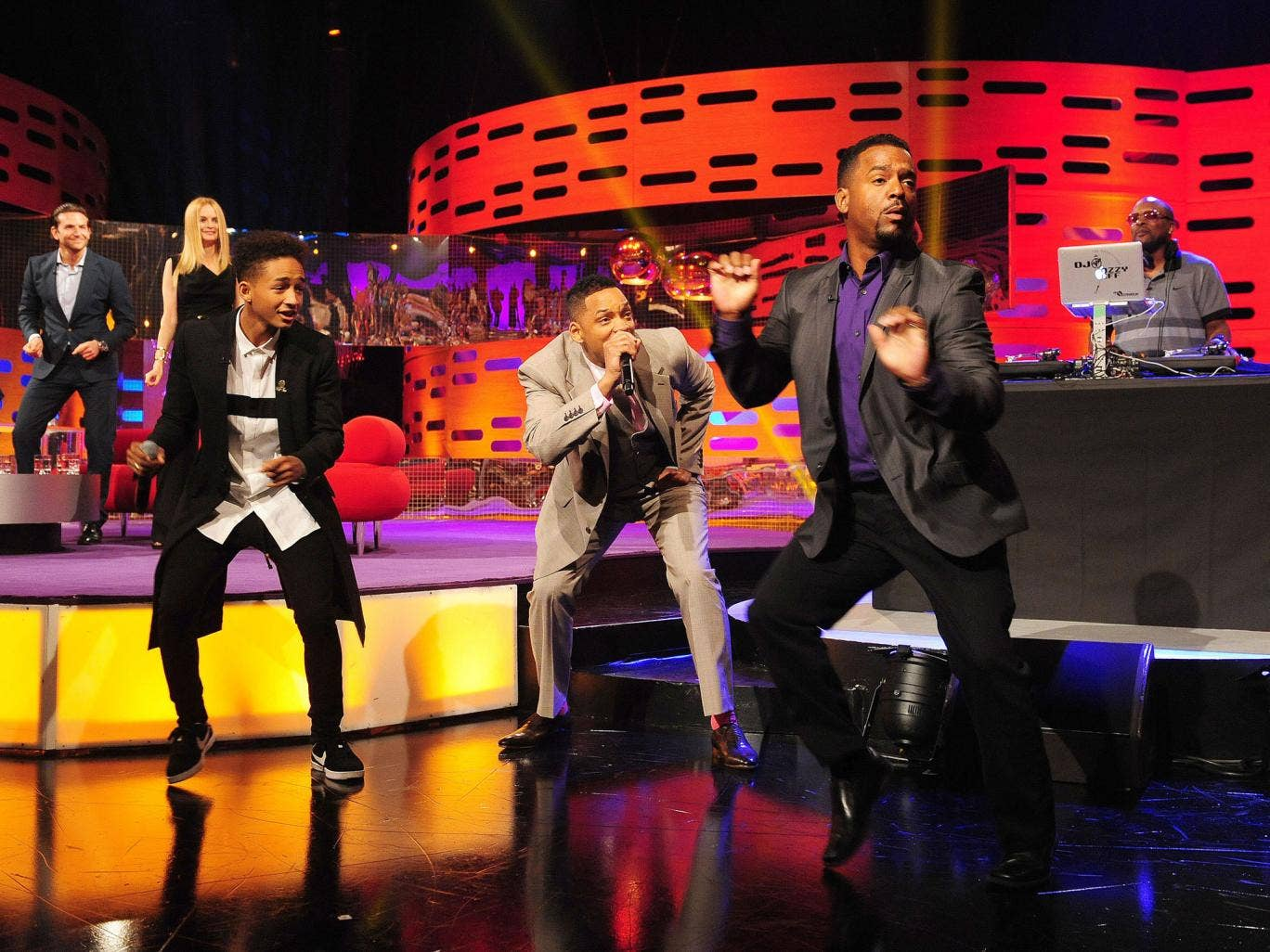 From left to right, Bradley Cooper, Heather Graham, Jaden Smith,Will Smith, Alfonso Ribeiro and DJ Jazzy Jeff on the decks behind during filming of the Graham Norton show at the London Studios