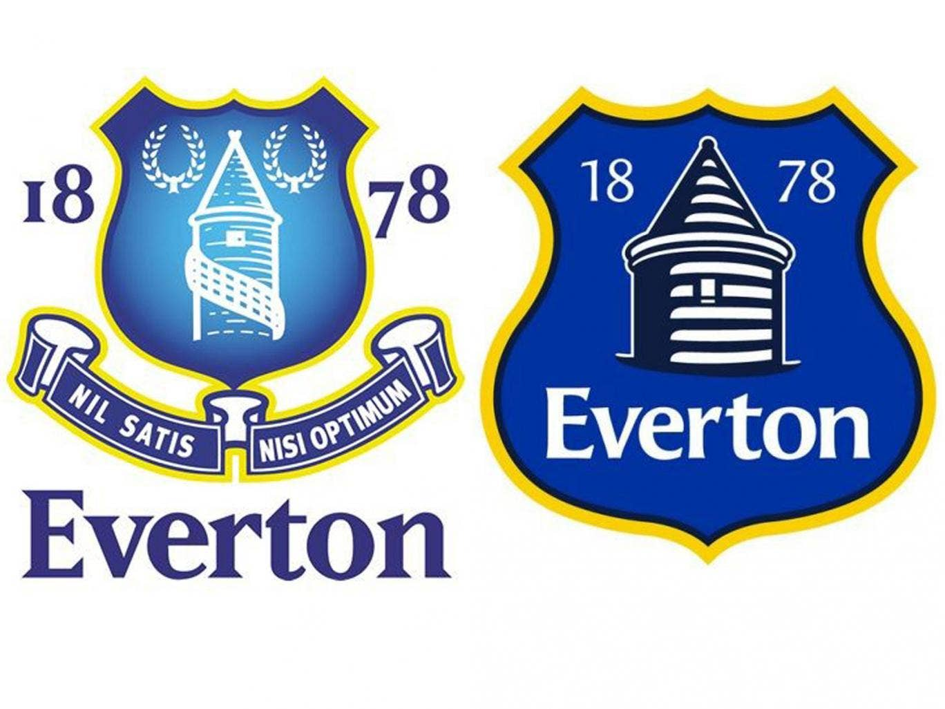 Everton's crests from last season (left) and next season (right)