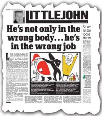 Richard Littlejohn's column which appeared in the Daily Mail last December