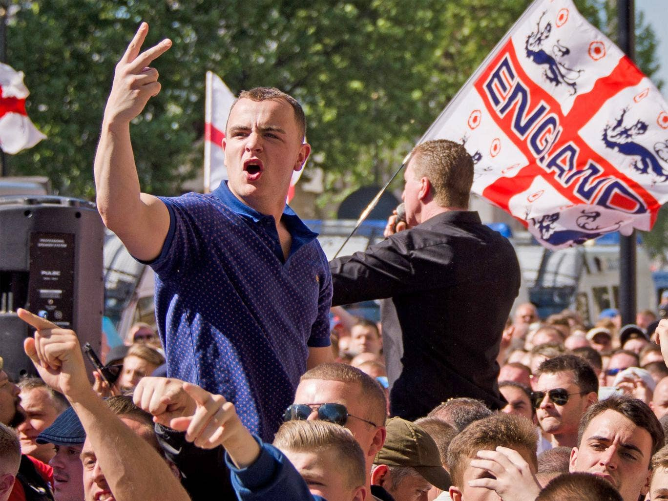 English Defence League supporters demonstrating outside Downing Street on Monday