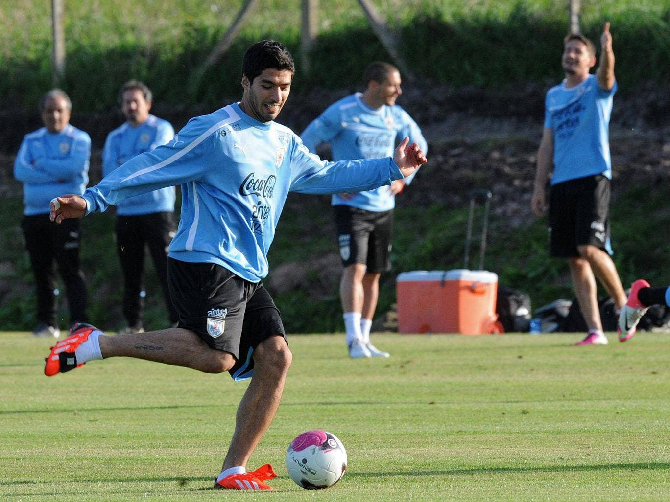 Luis Suarez pictured training with the Uruguay national team