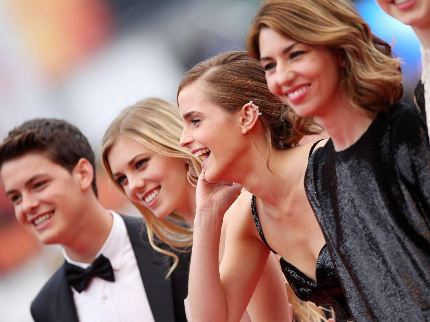 Sofia Coppola (right) with Emma Watson (third left) at the premiere of 'The Bling Ring' in Cannes