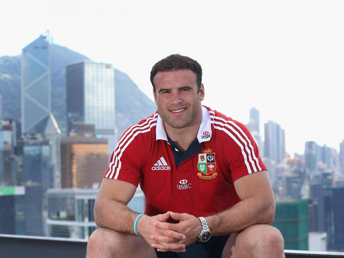 Jamie Roberts, the Lions centre, poses on top of the Grand Hyatt hotel after the British and Lions media session on May 31, 2013 in Hong Kong