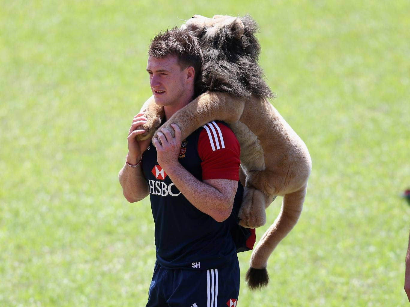 Stuart Hogg with the Lions mascot