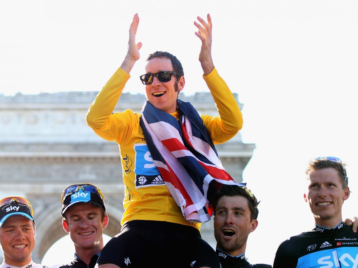 Bradley Wiggins pictured celebrating his Tour de France success in 2012