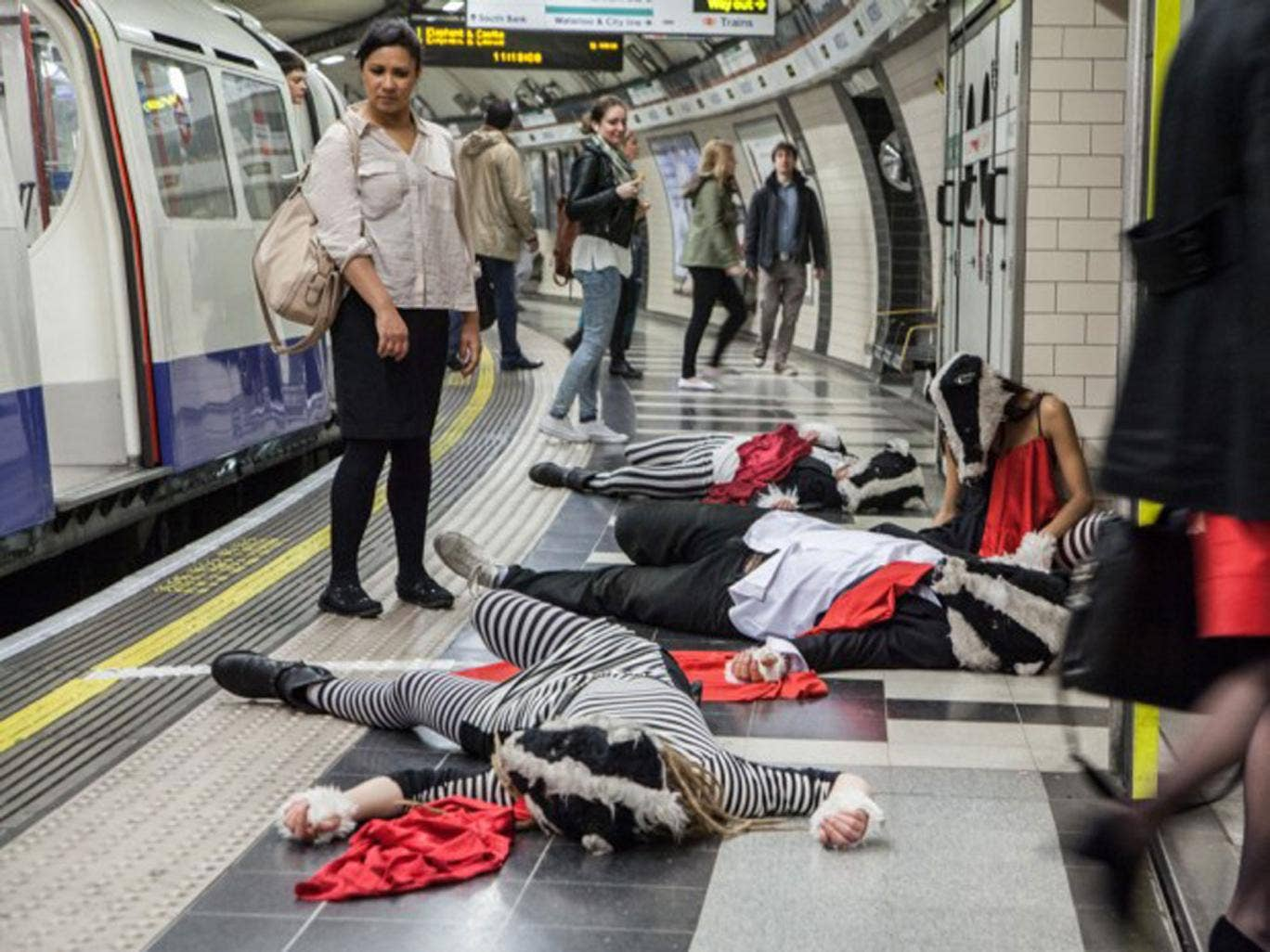 Badger activists demonstrate on the London Underground