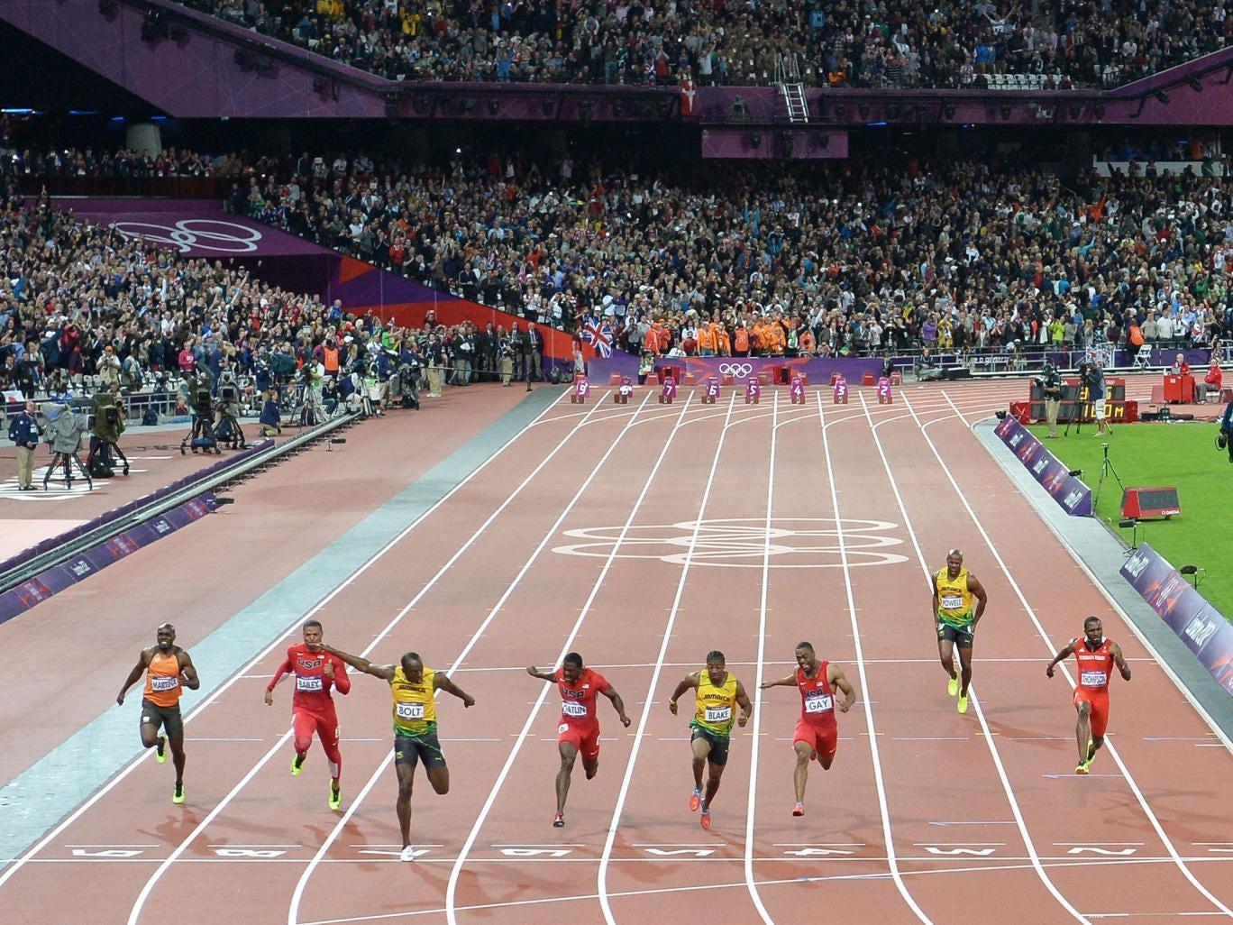 Usain Bolt wins his 100m gold at London 2012