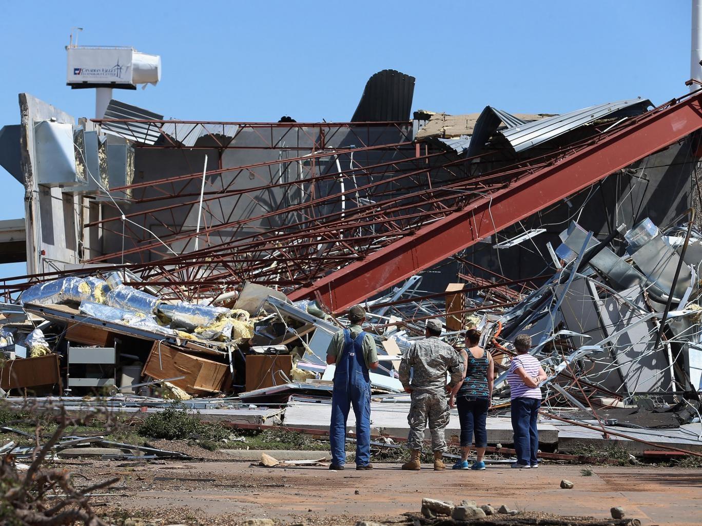 A campus building in ruins in El Reno, Oklahoma, yesterday