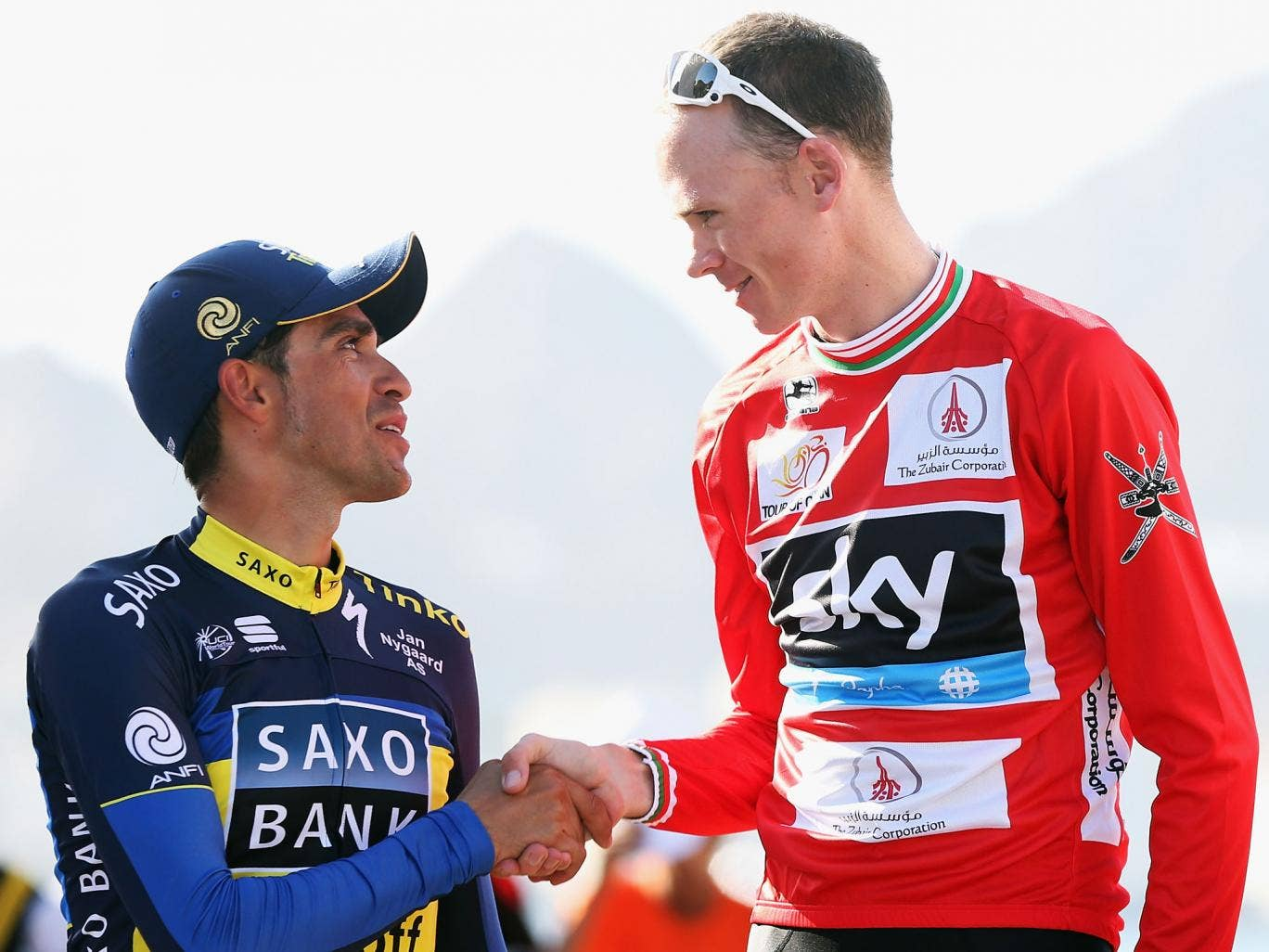 Spain's Alberto Contador shakes hands with Chris Froome (right)