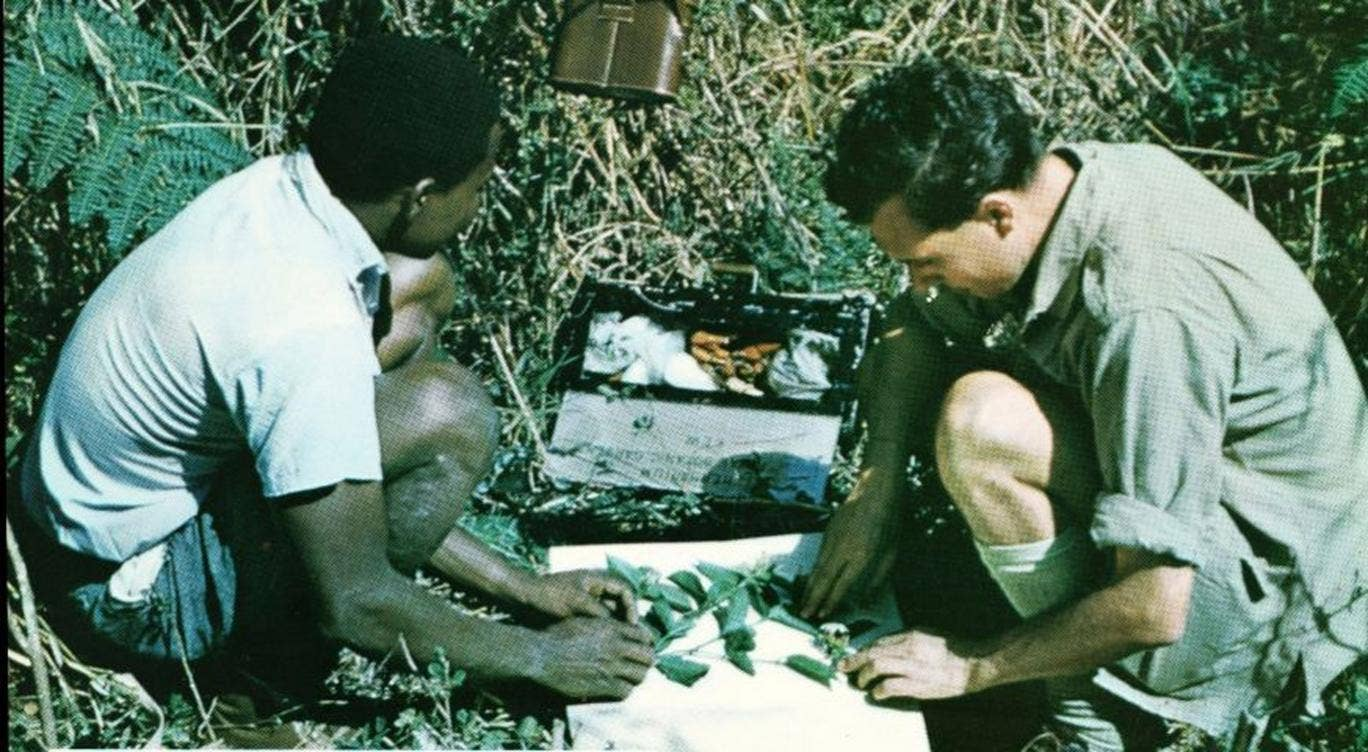 Hepper (right) in Nigeria in 1958, on one of his many botanical expeditions to Africa