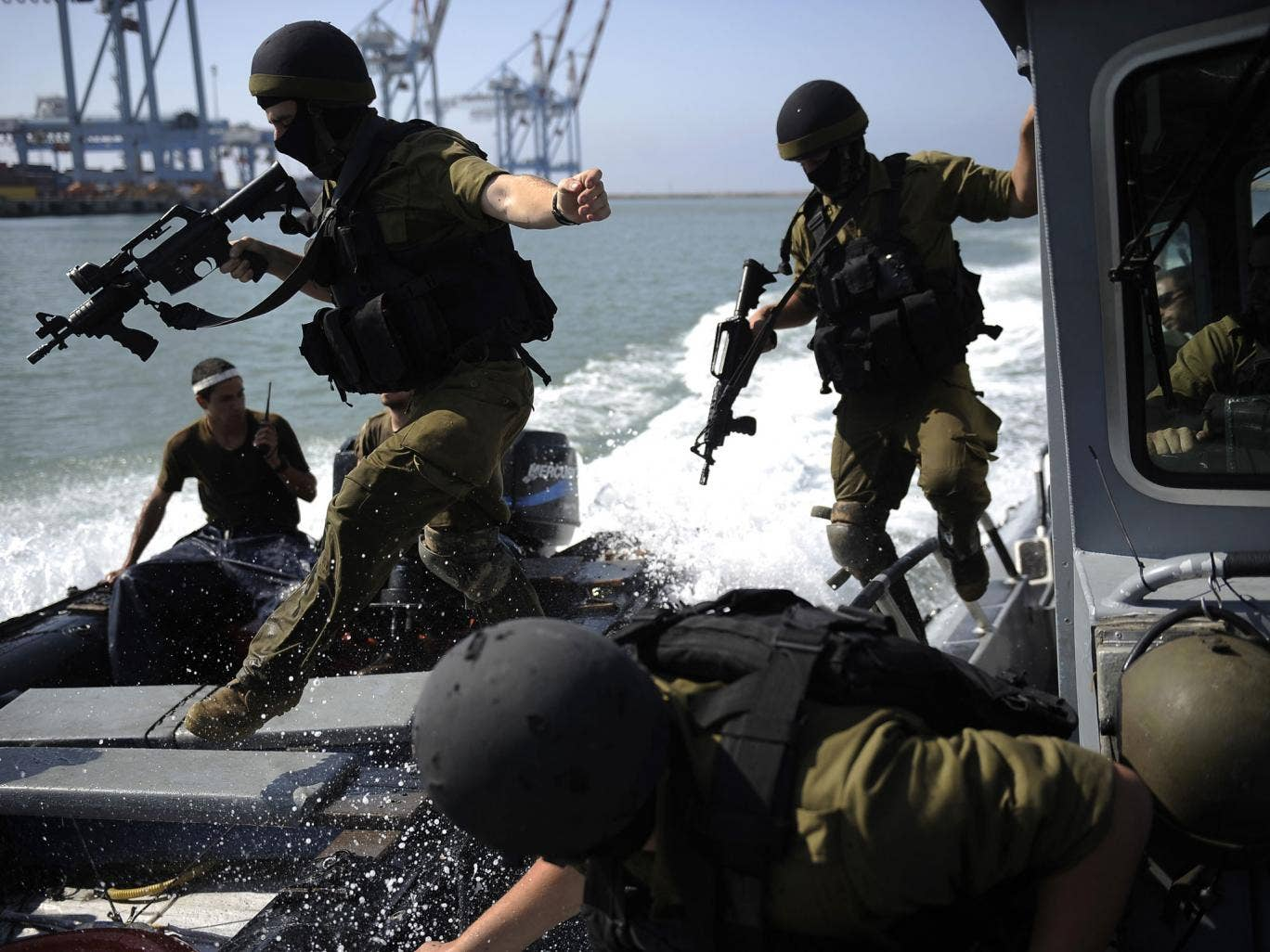 Israeli troops take part in a drill off the coast of Haifa