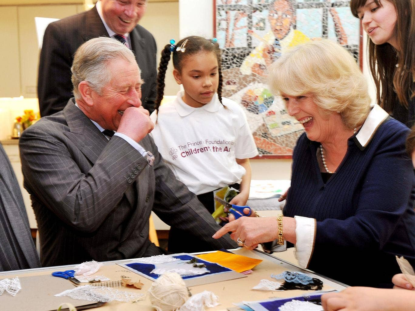 Prince Charles and the Duchess of Cornwall during a visit to the Dulwich Picture Gallery last year to see work done by the Prince's Foundation for Children and the Arts