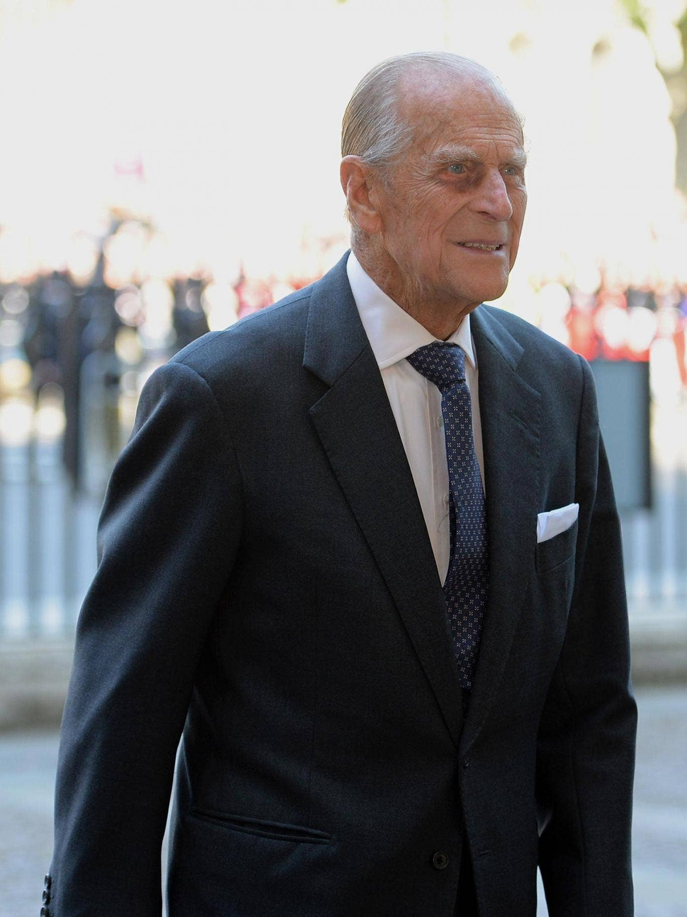 Britain's Prince Philip arrives at Westminster Abbey in London for a service to celebrate the 60th anniversary of the Coronation Service. Britain's Queen Elizabeth II, now 87, took the throne on February 6, 1952 upon the death of her father king George VI