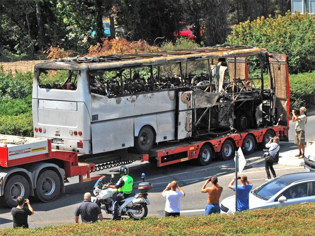 The bus blown up in the suicide bombing in Bulgaria