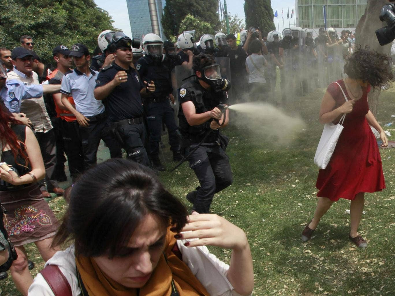 Endlessly shared on social media and replicated as a cartoon on posters and stickers, the image of the woman in red has become the leitmotif for female protesters during days of violent anti-government demonstrations in Istanbul.