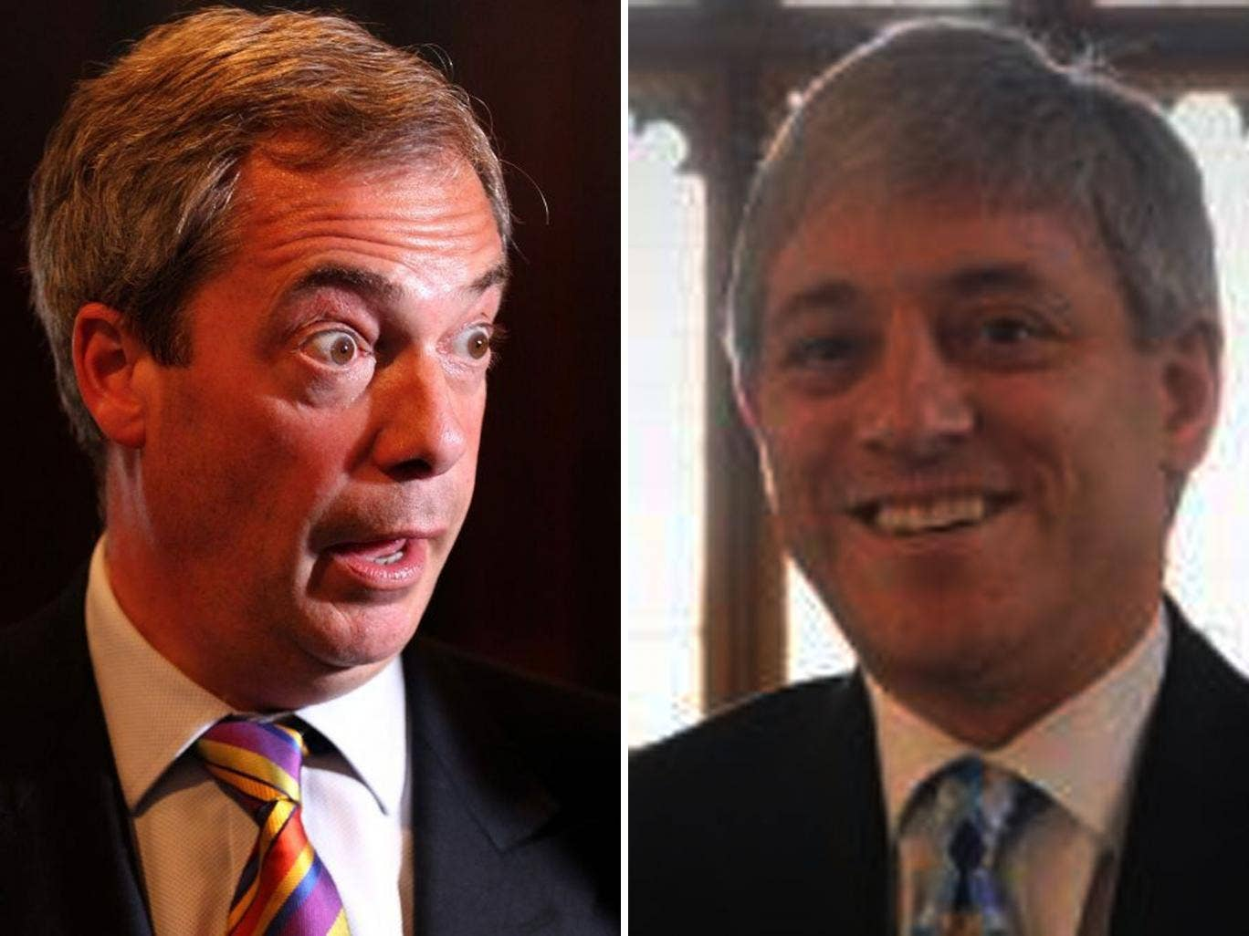 "Nigel Farage (left) has branded John Bercow (right) ""a disgrace to the office of Speaker"""