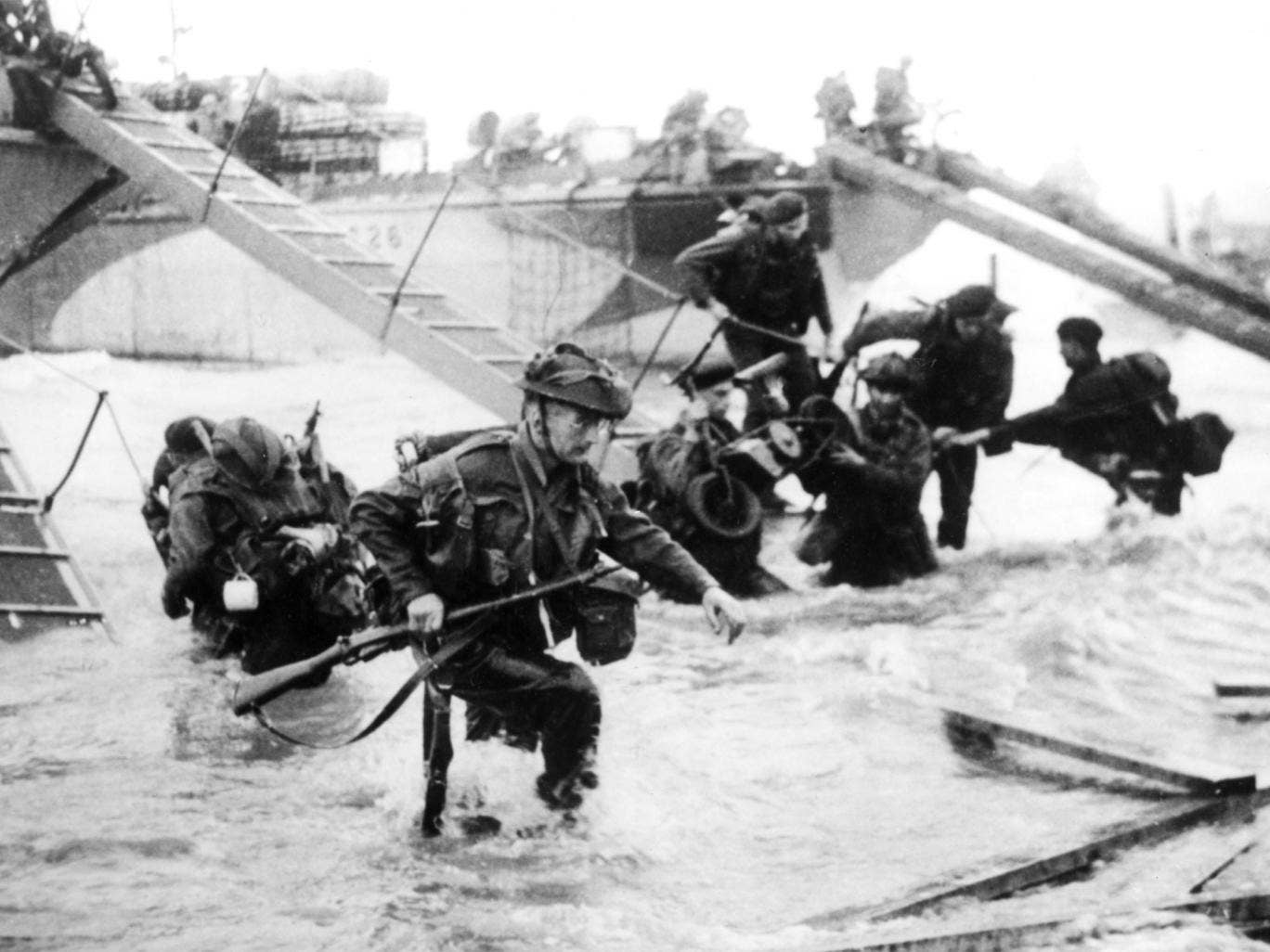 Troops from the 48th Royal Marines on Juno Beach, Normandy, during the D-Day landings on 6 June 1944