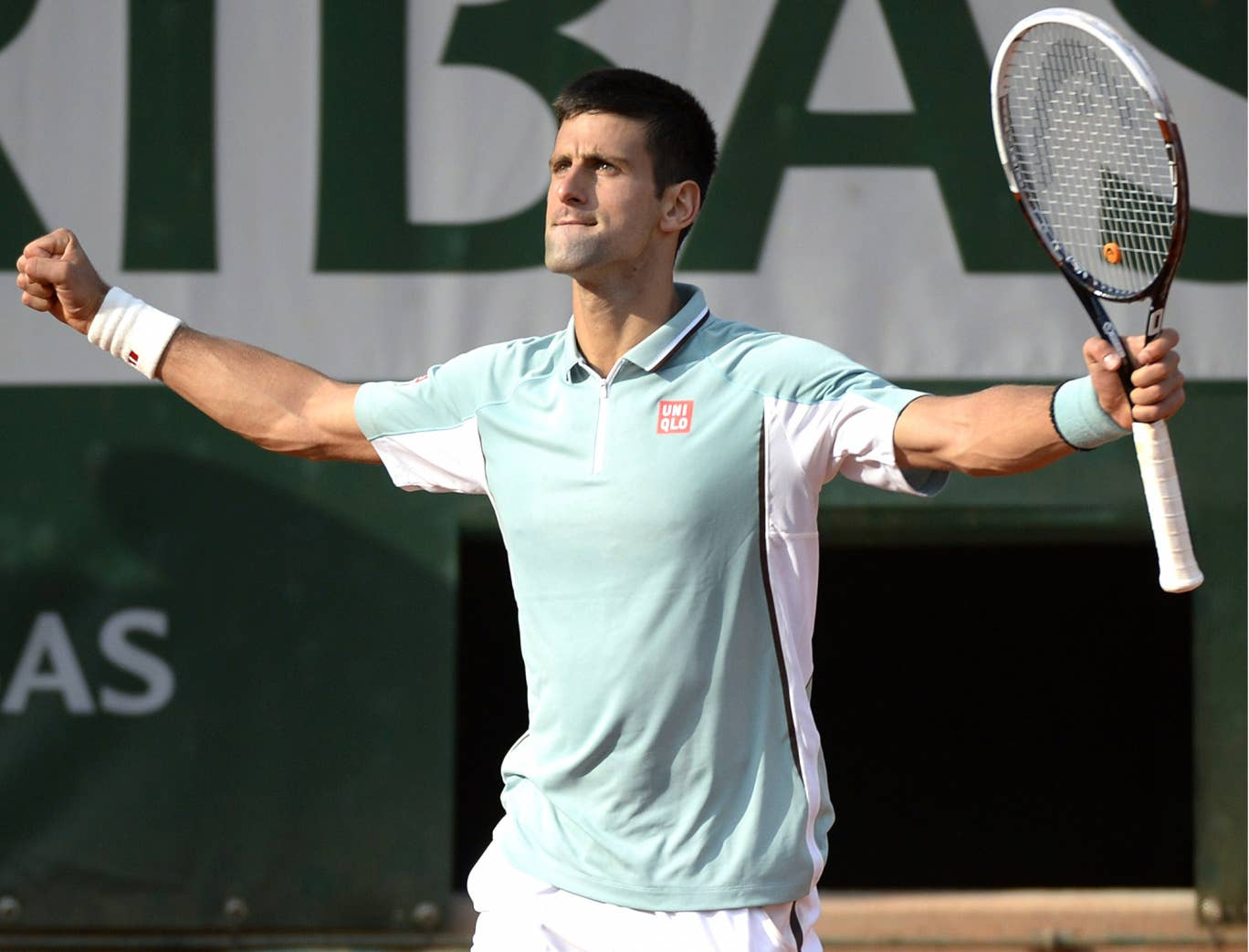 Novak Djokovic celebrates his quarter-final victory at the French Open