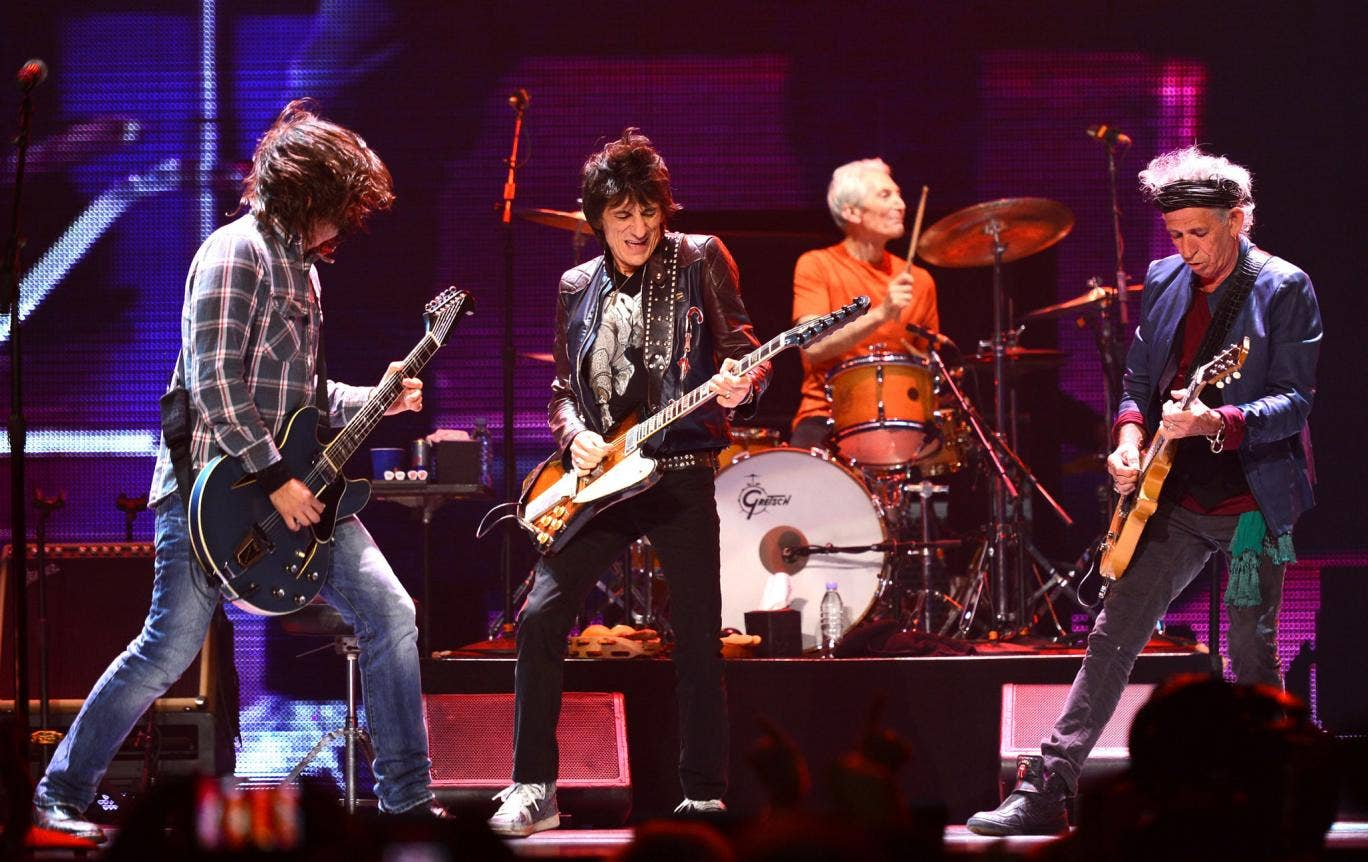Musicians Dave Grohl, Ronnie Wood, Charlie Watts and Keith Richards perform at the 'Rolling Stones 50 & Counting Tour' at The Honda Center on May 15, 2013 in Anaheim, California.