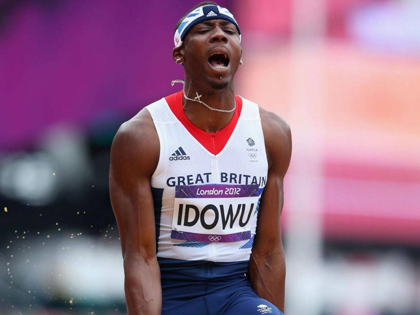 Phillips Idowu shows his frustration at the Olympics last year