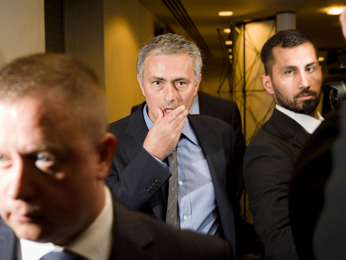 Jose Mourinho leaves after addressing the press