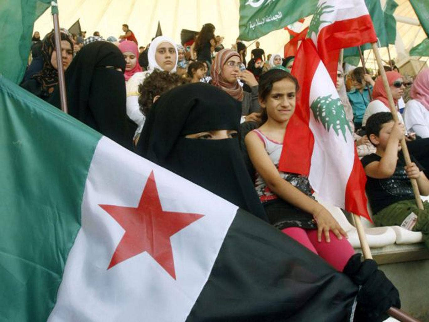 Syrians and Lebanese protesters in Sidon on the same day