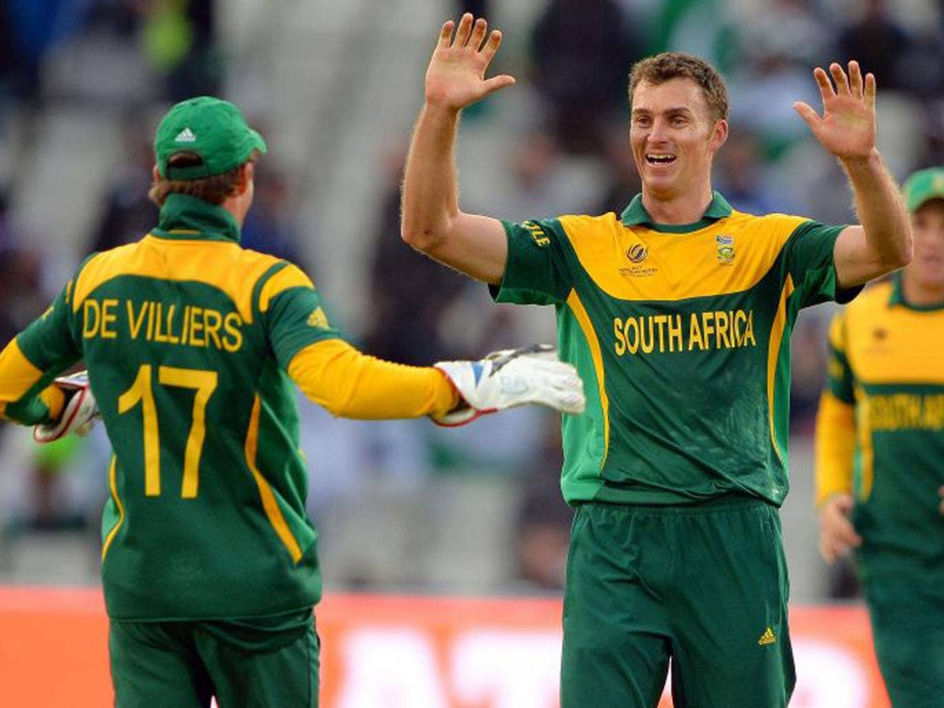 South African bowler Ryan McLaren celebrates wrapping up Pakistan's innings with the wicket of Junaid Khan