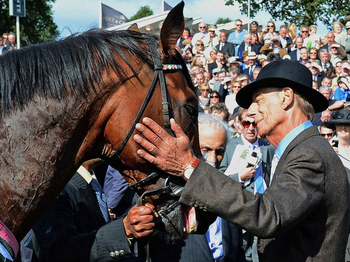 Cecil with Frankel after victory in the Juddmonte International Stakes at York last year