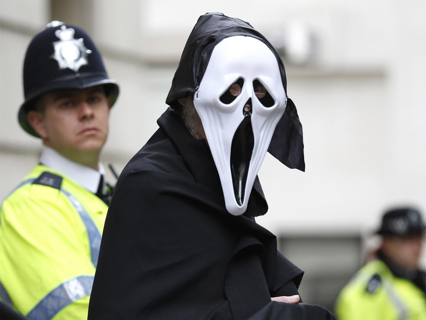 Anti-capitalist protester in Enniskillen, Northern Ireland, ahead of next week's G8 Summit