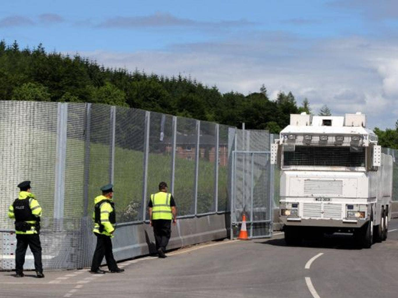 A Water cannon at the main checkpoint and security fence near Lough Erne Hotel resort in Co Fermanagh