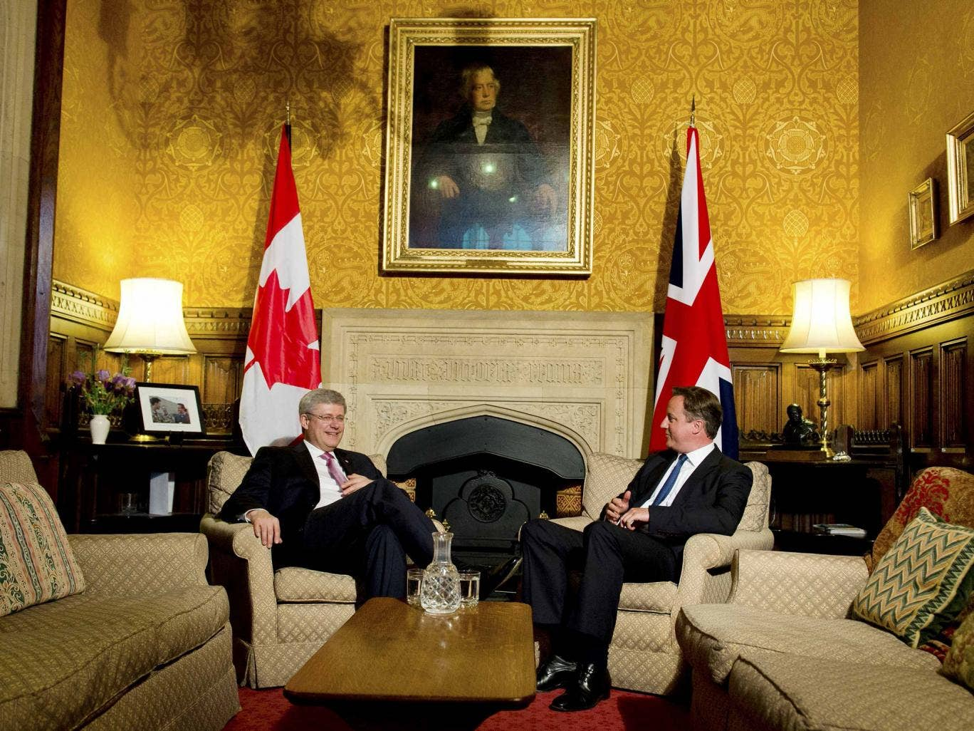 David Cameron with Stephen Harper following an address to both House of Parliament in 2013