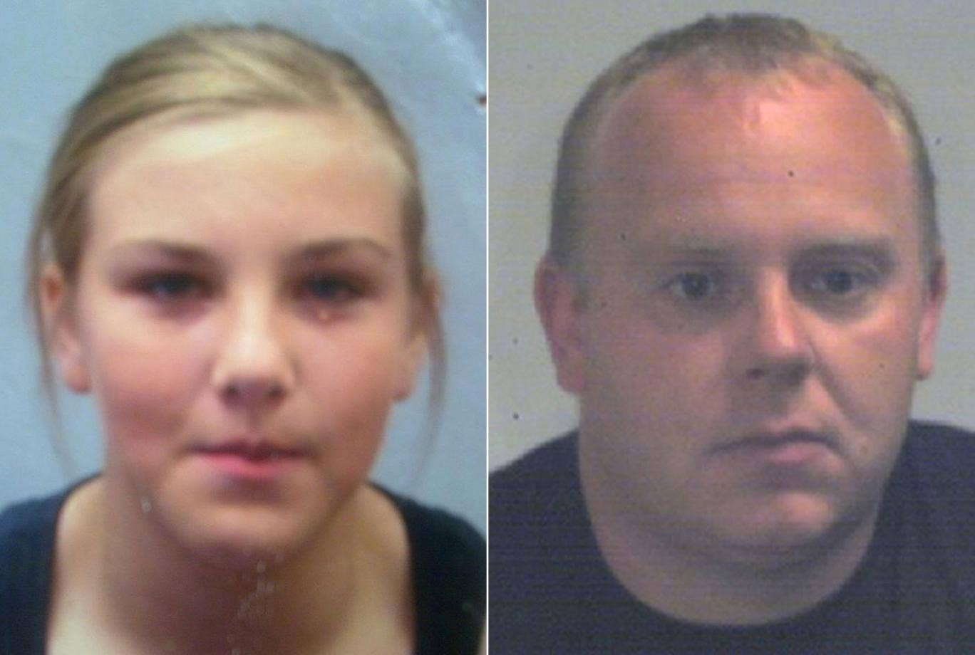 Missing 14 year old girl Lorna Vickerage, left and John Bush, right, 35. The teenager has been missing since 10 June and police believe she has vanished with a man over twice her age, believed to be John Bush