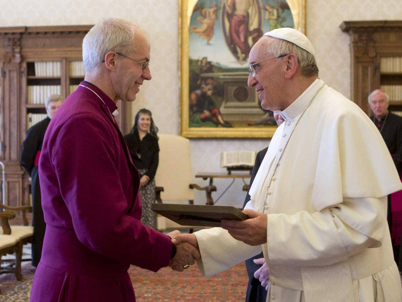Pope Francis welcomes the Archbishop of Canterbury
