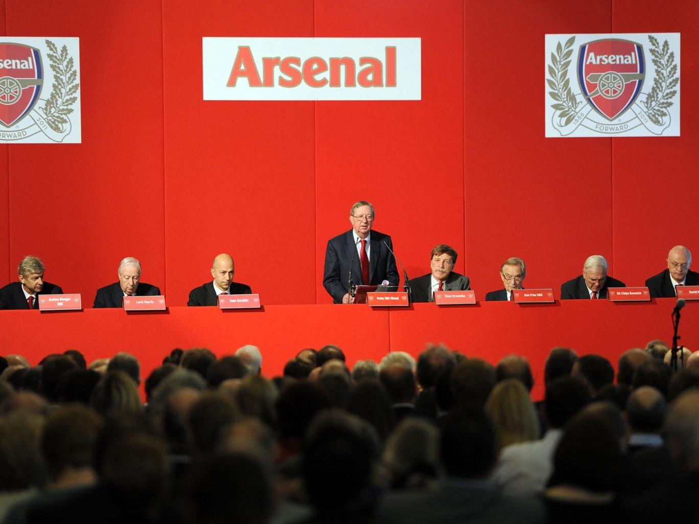 (L-R) Arsene Wenger (Manager), Lord Harris (Director), Ivan Gazidis (CEO), Peter Hill-Wood (Chairman), Stan Kroenke (Director), Ken Friar (Director), Sir Chips Keswick (Director) and David Mile (Club Secretary) during the Arsenal AGM at Emirates Stadium i