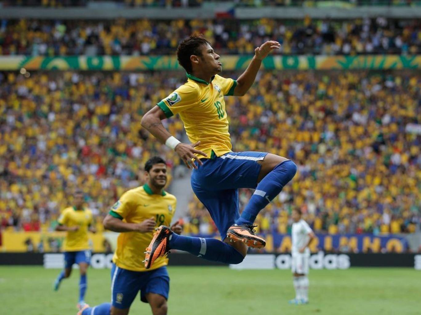 Neymar celebrates after his stunning strike