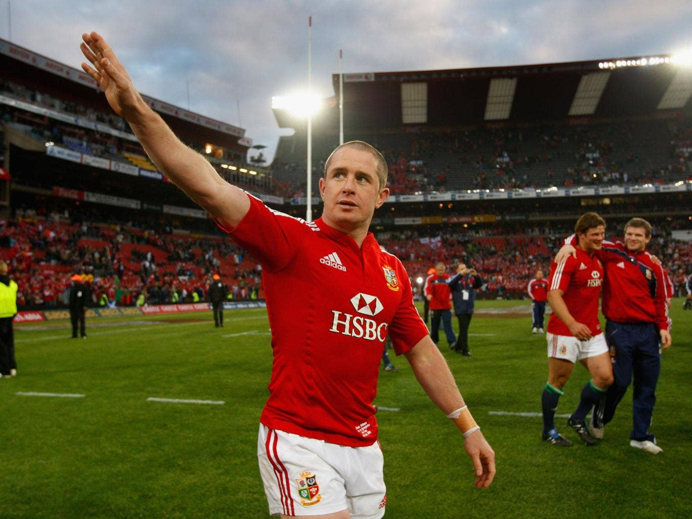 Shane Williams salutes the Lions' crowd after the successful third Test on the 2009 tour of South Africa