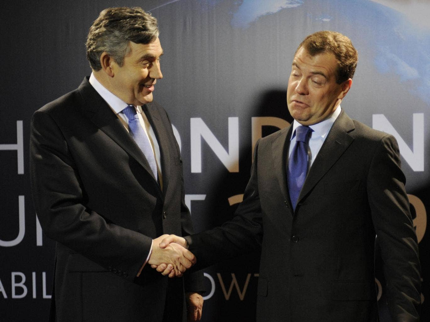 Gordon Brown with the then Russian President Dmitry Medvedev at the G20 summit in London in April 2009